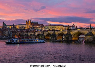 A view taking in the sights of Prague Castle, the Charles Bridge and the Vltava River in the beautiful city of Prague, Czech Republic.