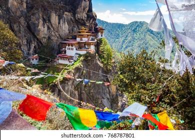View of Taktshang Monastery on the mountain in Paro, Bhutan