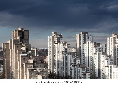 View from a tall building in the residential part of Belgrade, Serbia, New Belgrade neighbourhood, blocks of council flats, on a rainy cloudy day just before the approaching storm, Eastern Europe