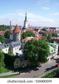 View of Tallinn with some of the main landmarks: the city wall, the St. Nicholas' Church, St. Olaf's Church