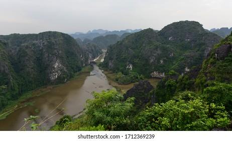 View of Tam Coc Valley from famous Hang Mua peak in Ninh Binh Provice, Vietnam
