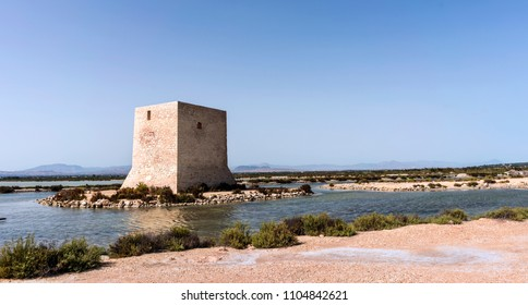 A view of Tamarit Watchtower near Santa Pola,Spain.