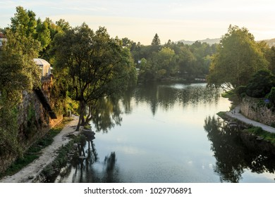 View of the Tamega River, a tributary of the Douro River, in Amarante, Portugal