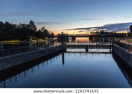 view-tammerkoski-rapids-twilight-downtow