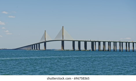 View from Tampa Bay of the Sunshine Skyway Bridge, which connects St. Petersburg in Pinellas County to Terra Ceia in Manatee County, Florida, U.S.A.