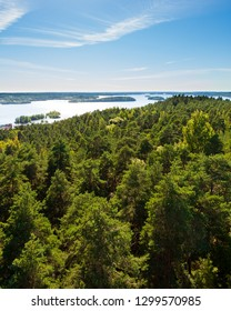 View of Tampere Finland taken at Pyynikki lookout tower at summer day