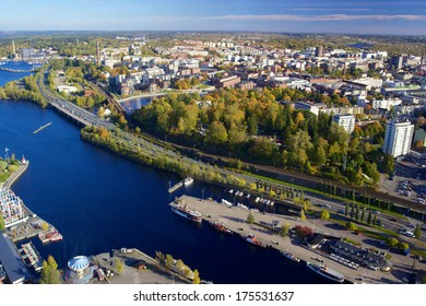 View of Tampere with marina from television tower Nasinneula