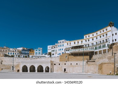 View of Tanger, Morocco from the shore with the old walls of the kasbah (fort)