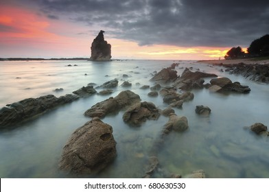 View of Tanjung Layar during Sunset at Sawarna Beach, Indonesia, Selective Focus