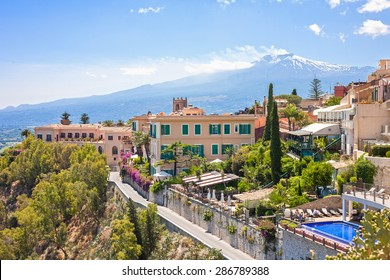 View of Taormina with the Etna volcano int the back in Sicily, Italy