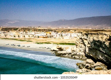 View of Taqah village and dramatic beach near Salalah in the Dhofar region of southern Oman