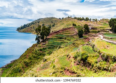 View of Taquille Island in the middle of Lake Titicaca in Puno, Peru