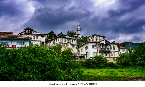 View of Tarakli which is a historic district in the Sakarya Province of the Marmara region, Turkey. Tarakli is a member of the Cittaslow movement. Traditional Ottoman houses in Anatolia district.