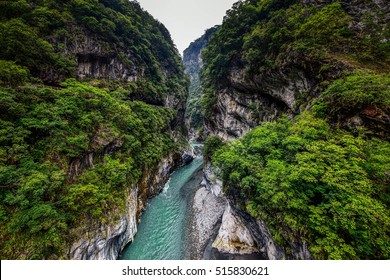 View of Taroko Gorge and Hiking Trail of Jhuilu Old Trail in Taroko National Park , Hualien, Taiwan