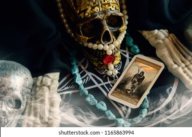 View of tarot card on the table. The Death. Shallow depth of field.