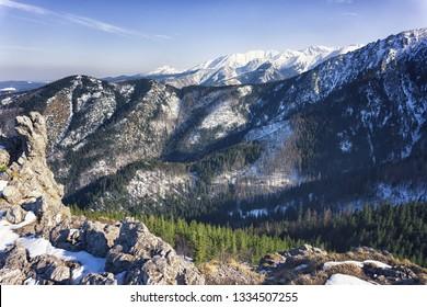 VIew of the Tatras mountains range from the top of Sarnia Skala, Zakopane, Poland.