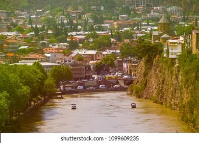 View of Tbilisi old town, Mtkvari (Kura) River and Metekhi church.