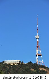View of the Tbilisi tv tower. National television repeater. Located on the top of the Matsminda hill, reachable by the funicular.