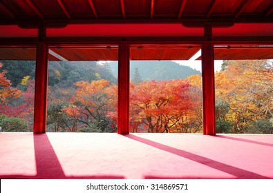 View from a tea ceremony room through the doors of a traditional Japanese architecture toward the autumn mountains with beautiful maple foliage in a peaceful Zen ambiance in Kyoto, Japan