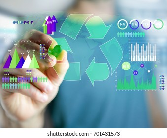 View of a Technology ecologic interface with world map on the background - Ecology concept