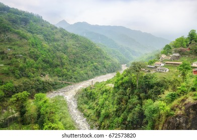 View of teesta River, it is long river near Kalimpong in Dajeeling, West Bengal India