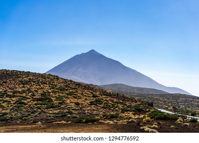 View of the Teide volcano. Viewpoint: Mirador Corral del Nino. Canary Islands. Tenerife. Spain.