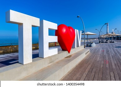 View of Tel Aviv sign with red heart in Old Port, Tel Aviv, Israel, Middle East 1-3-2019