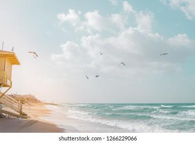 View of Tel Baruch beach in Tel Aviv, Israel. Baywatch cabin against rays of light and mediterranean horizon.
