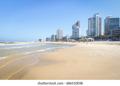 view of the Tel-Aviv beach on Mediterranean sea Israel