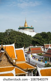 A view of the Temple of the Golden Mount or Phu Khao Thong (in Thai) taken from the Rattanakosin Exhibition Hall