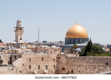 View of the Temple Mount and El-Ghawanima Tower in the Old City of Jerusalem, Israel