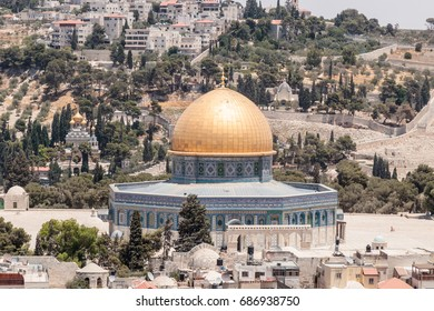 View of the Temple Mount and Jerusalem from the Corner tower of the Evangelical Lutheran Church of the Redeemer in the old city of Jerusalem, Israel.