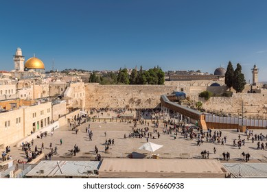 A view of Temple Mount in the old city of Jerusalem, including the Western Wall and golden Dome of the Rock, Israel.