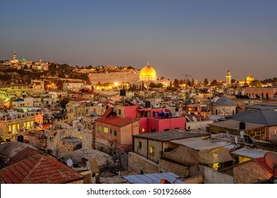 View to the Temple Mount over the roofs of the Old City of Jerusalem, Israel, with Muslim Quarter, Golden Dome of the Rock and Al-Aqsa Mosque