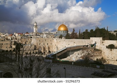 View at the Temple Mount, the West Wall and Dome of the Rock mosque in Jerusalem, Israel