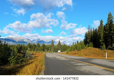 View of Temple mountain from Bow Valley Parkway in Banff National Park Alberta Canada