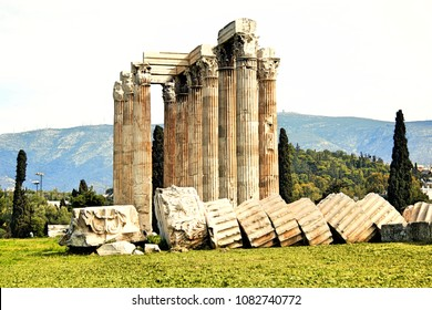 View of the Temple of Olympian Zeus in Athens, Greece.