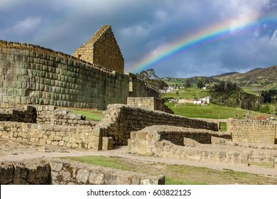 View to Temple of the Sun with rainbow, famous Inca ruins of Ingapirca, Ecuador
