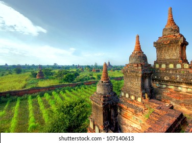 A view at the temples of Bagan in Myanmar,  Asia