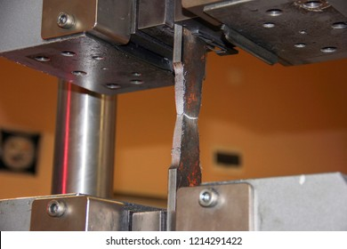 View of the tensile test of the procedure qualification record with welded in the mechanical testing laboratory. Tensile testing, also known as tension testing, is a fundamental materials science.