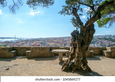 View from a terrace at Castelo de Sao Jorge over Lisbon, Portugal.