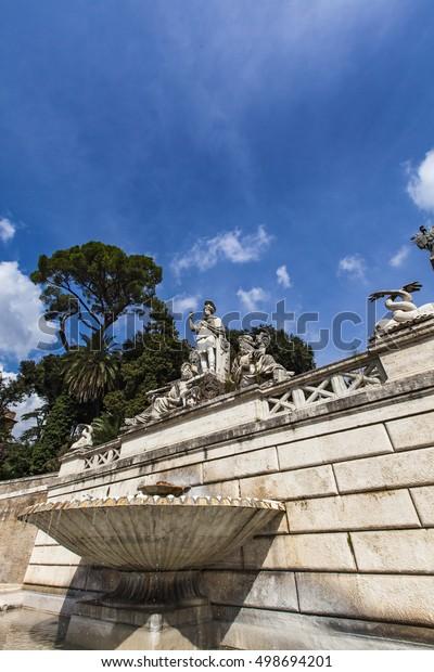 View Terrace Fountain Piazza Del Popolo Stock Photo Edit