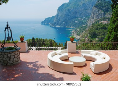View from the terrace of luxury villa, Italy