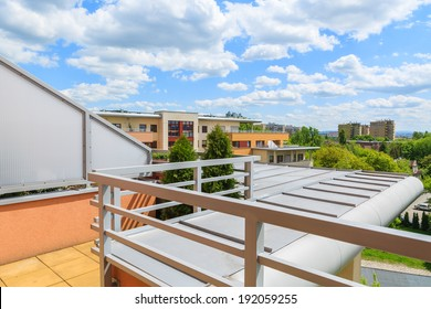 View from terrace of new city apartment on sunny day, Krakow, Poland