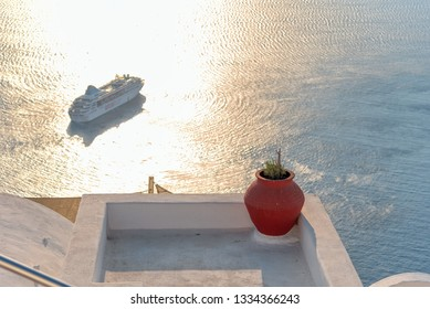 View of terrace on the Mediterranean sea - Thira village - Aegean sea - Santorini island - Greece