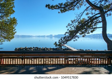 View from a terrace on the Nevada side of Lake Tahoe.