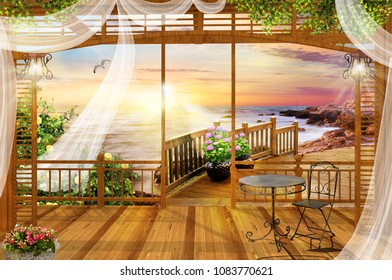 View from the terrace to the sea with flowering trees. View from the arch to the sea. Digital fresco