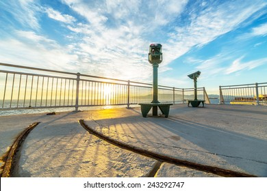 A view terrace in warm sunset light, located near Europa Point in Gibraltar