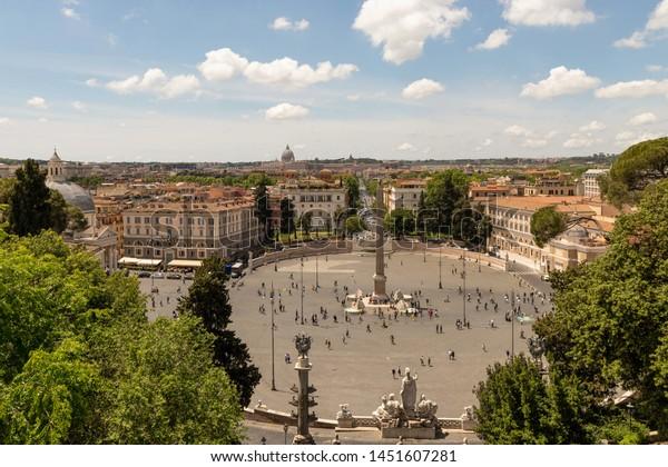 View Terrazza Del Pincio City Piazza Stock Photo Edit Now