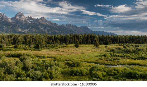 View of the Teton range from the Blacktail Ponds Overlook at Grand Teton National Park near Jackson, Wyoming